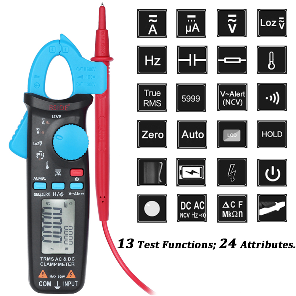 Image 2 - True RMS Mini Digital Clamp Meter BSIDE ACM91 DC AC Current 100A 1mA Accuracy Car Repair Ammeter Voltmeter NCV Tester Multimeter-in Clamp Meters from Tools