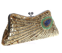 Neue Frauen Abendtaschen Party Hochzeit Taschen Pfau Pailletten Perlen Frauen Geldbeutel und Handtaschen Damen Tageskupplungen