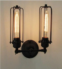 High Quality AC 110-220V Vintage 2 Heads Loft Iron Cages Light Retro Edison Country Style E27 Incandescent Lamp