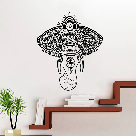 Religious series elephant tribal indian style wall mural for Buddha wall mural