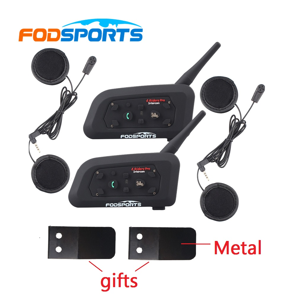 2017 Version Fodsports 2 pcs Waterproof V6-1200 Motorcycle helmet bluetooth headset Intercom BT interphone+soft earphone motorcycle bluetooth helmet intercom v6 stereo headset 6 riders windproof waterproof intercom motocycle skiing concert 2pcs lot