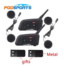 2017 Versión V6-1200 Fodsports 2 unids Impermeable Motocicleta casco auricular bluetooth Intercom interphone de BT + auricular suave