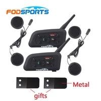 2019 Version 850mAh 2 pcs Waterproof V6 1200 Motorcycle helmet bluetooth headset Intercom BT interphone+soft earphone
