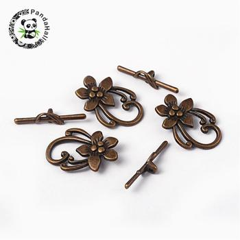 Tibetan Style Toggle Clasp, Zinc Alloy Toggle Clasp, Antique Bronze, Flower, Lead Free, Cadmium Free and Nickel Free, Toggle: фото