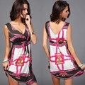 Europa 2017 Mujeres del Verano de la Playa Vestidos de Aceptar de la cintura V-cuello Más El tamaño Suave corto vestidos de Mujer Elegante de la Fiesta vestidos de 6517