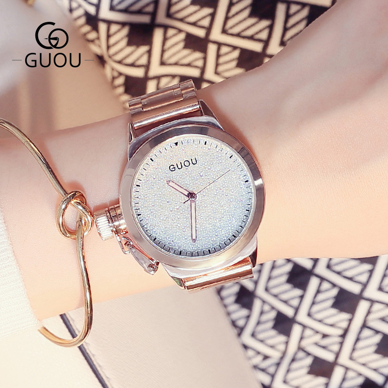 GUOU Brand Rose Gold Bling Full Stainless Steel Quartz Bracelet Wrist Watch Wristwatches No Fade Japan Movt цена и фото