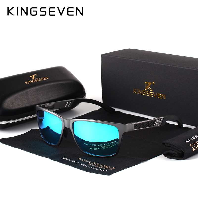 KINGSEVEN Men Polarized Sunglasses Aluminum Magnesium Sun Glasses Driving Glasses Rectangle Shades For Men Oculos masculino Male fashion rectangle frame gun metal leg outdoor driving sunglasses for men