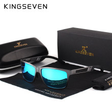 KINGSEVEN Men Polarized Sunglasses Aluminum Magnesium Sun Glasses Driving Glasses Rectangle Shades For Men Oculos masculino Male(China)