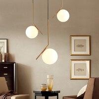 Nordic Glass Pendant Lighting Modern led Pendant Lamps Simple Living Room Bar Gold Iron Lamp Bedside Kitchen Hanging Light Fixtu