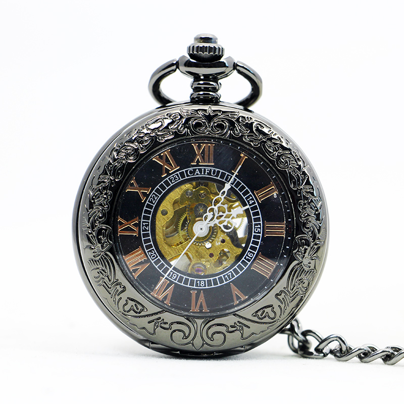 Fashion Retro Antique&Vintage Hand Wind Mechanical Pocket Watch With Fob Chain Mens Hollow Skeleton Black Dial PJX1112