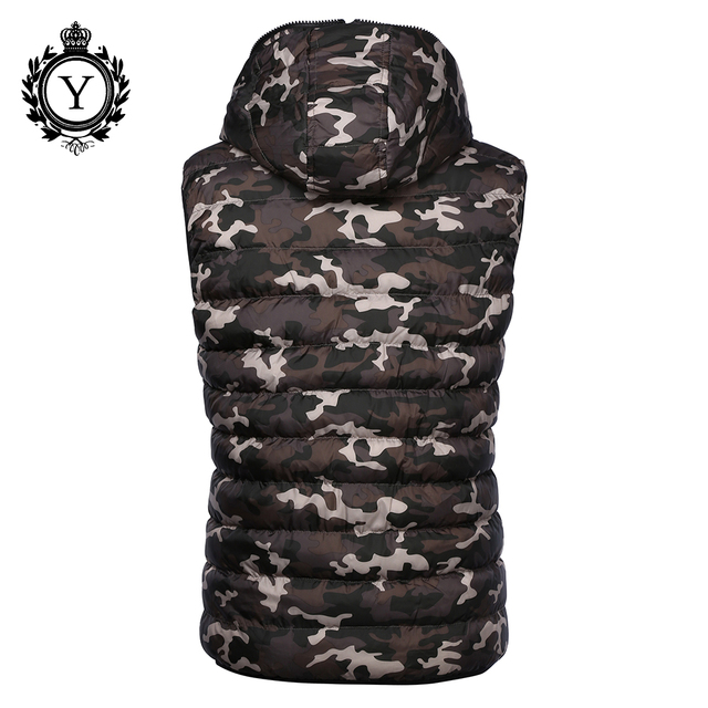 COUTUDI 2018 New Men's Vest Camouflage Winter Cotton Sleeveless Jackets Reversible Stylish Jacket Vest Warm Waterproof Down Coat