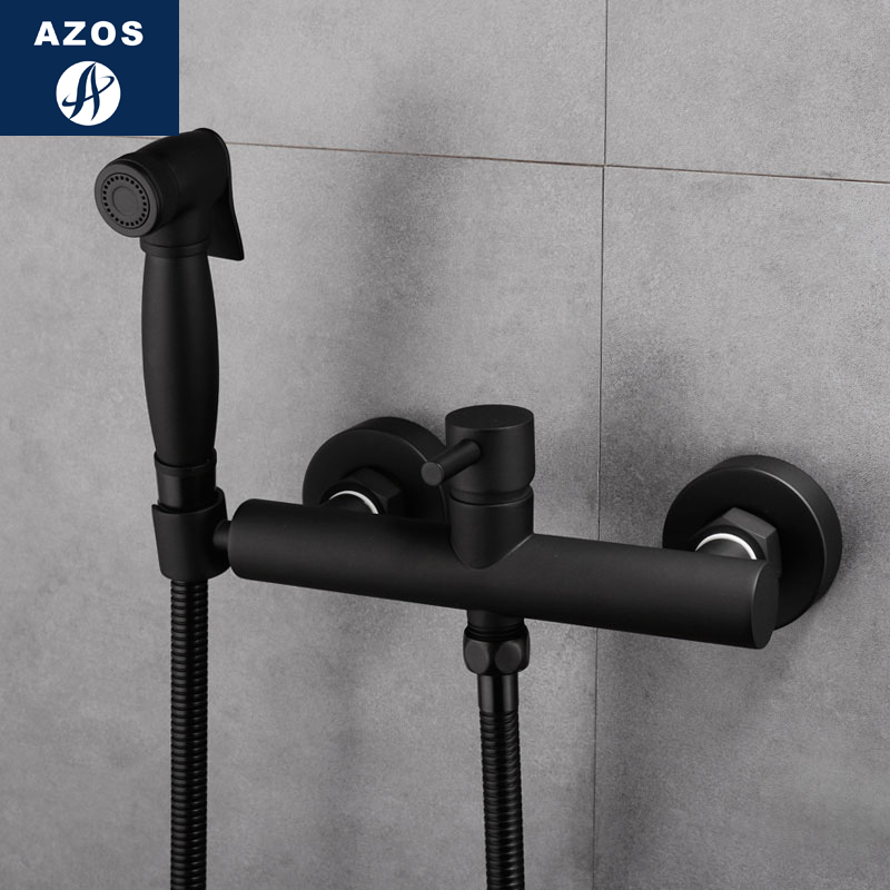 Azos Bidet Faucet Pressurized Sprinkler Head Brass Black Cold and Hot Switch Single Function Washing Machine Pet Bath Toilet Rou