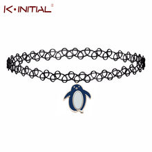 Kinitial Female Fashion Penguin Enamel Neck Show Punk Jewelry Penguin Dangle Collar Chockers Necklaces for Women Gift(China)