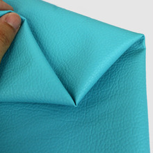 Faux Artificial Synthetic Leather Fabric Soft Decoration PU Pure Color Ocean Blue Sewing DIY Bag Shoes Material