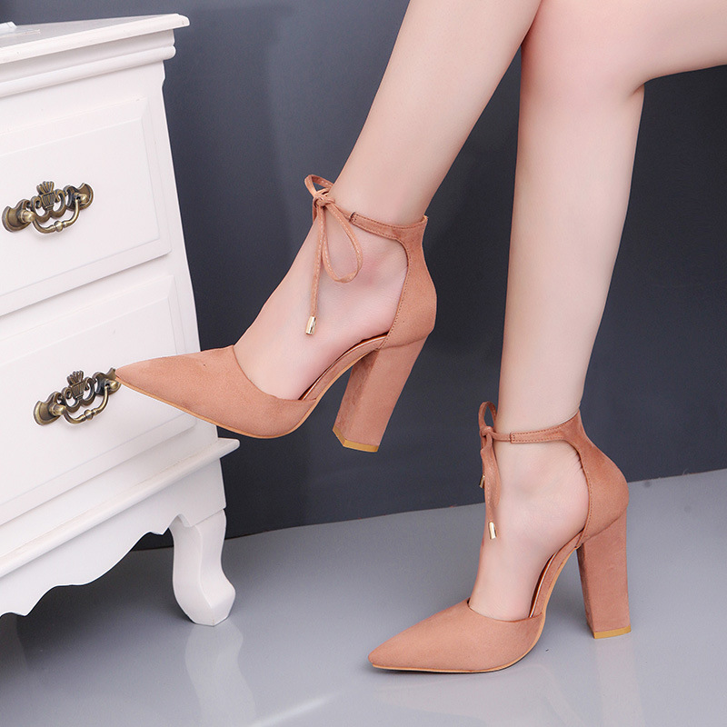 66cd0684c Designer Women High Heels Shoes pumps Lace Up ladies Pointed Toe Square  Heel Sandals Female Zapatos Mujer Plus Size 34 43-in Women's Pumps from  Shoes on ...