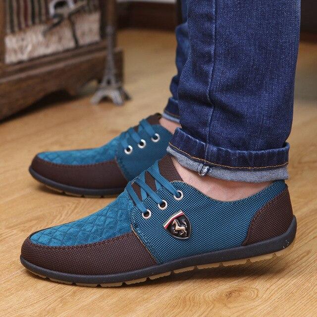 2016 Мужская Повседневная Обувь Мужская Холст Обувь Для Мужской Обуви Квартиры Кожа Модный бренд Замши Zapatos Де Hombre