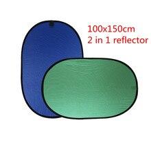 CY Nieuwe 100x150 cm Reflector Inklapbare Nylon Blauw & Groen (2in1) achtergrond Panel voor Foto & Video Studio Fotografie