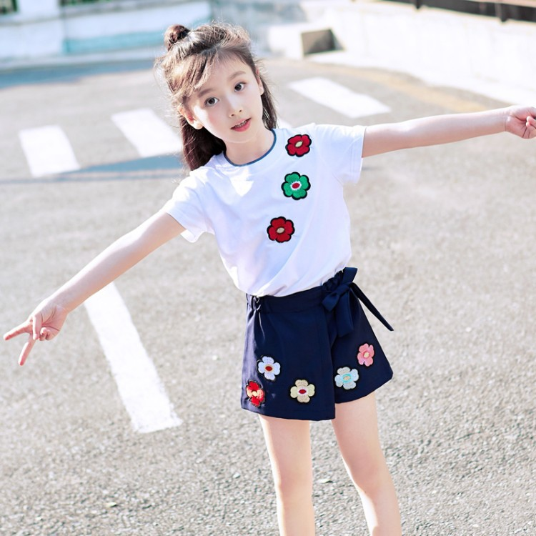 summer girls clothes shorts seeve Floral t shirts+ skirt girls cute children clothing cotton set new party kids clothes for gilr ...