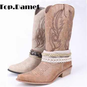 Top.Damet Women Knee High Boot Cowboy Cowgirl Boots with Lace and Chain Decoration Western Shoes Slip On Motorcycle Boots Woman - DISCOUNT ITEM  49% OFF All Category