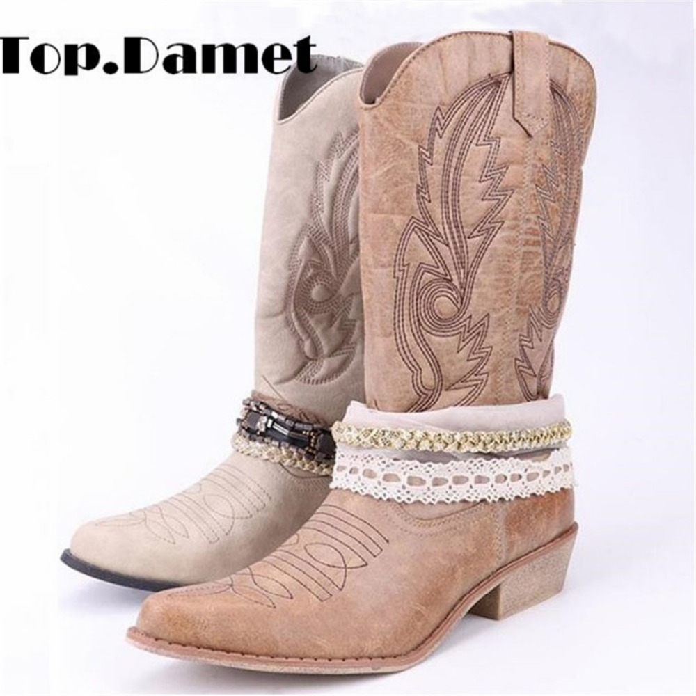 Top. damet Femmes Genou Haute Boot Cowboy Cowgirl Bottes avec Dentelle et Chaîne Décoration Western Chaussures Slip Sur bottes de moto Femme