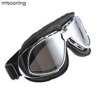Mtsooning Moto Occhiali In Pelle Nera Cornice D'argento con Vintage Trasparente Antivento Occhiali Casco Classic Retro Aviator Pilot