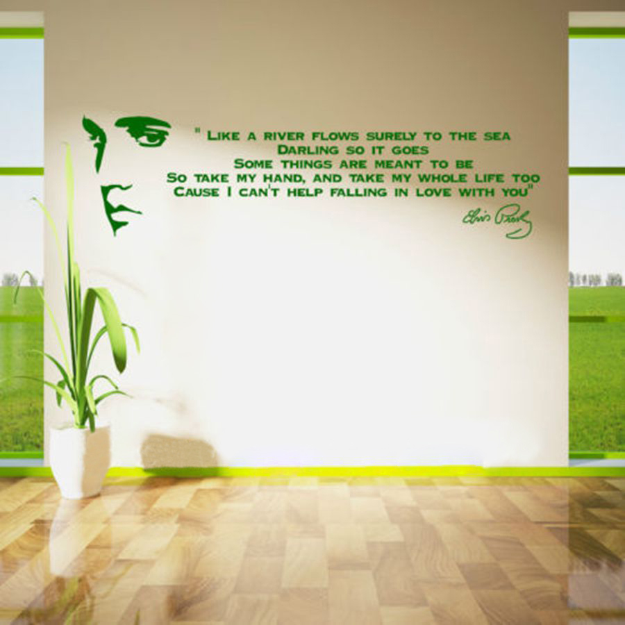 Like a river flows..ELVIS PRESLEY SONG LYRICS Vinyl Wall Art Sticker Quote,m1007 image