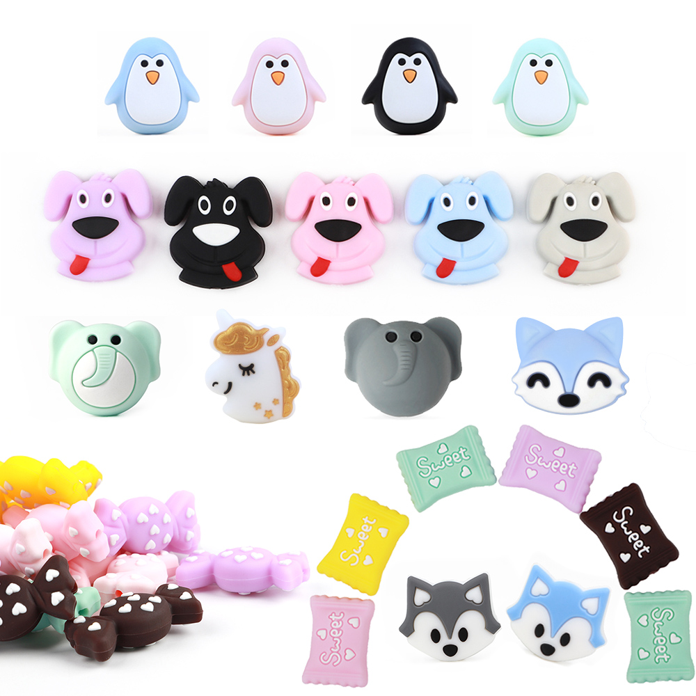 1PC Food Grade Silicone Teething Beads Baby DIY Necklace Pacifier Chain Accessories Chews Baby Products Mini Silicone Teether