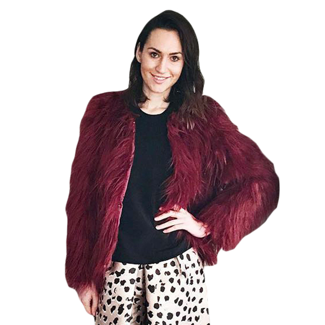 6d0881e781 Winter Women Faux Fur Coat Solid Color Long Sleeve Fluffy Outerwear Short  Jacket Hairy Warm Female Overcoat Plus Size Clothes