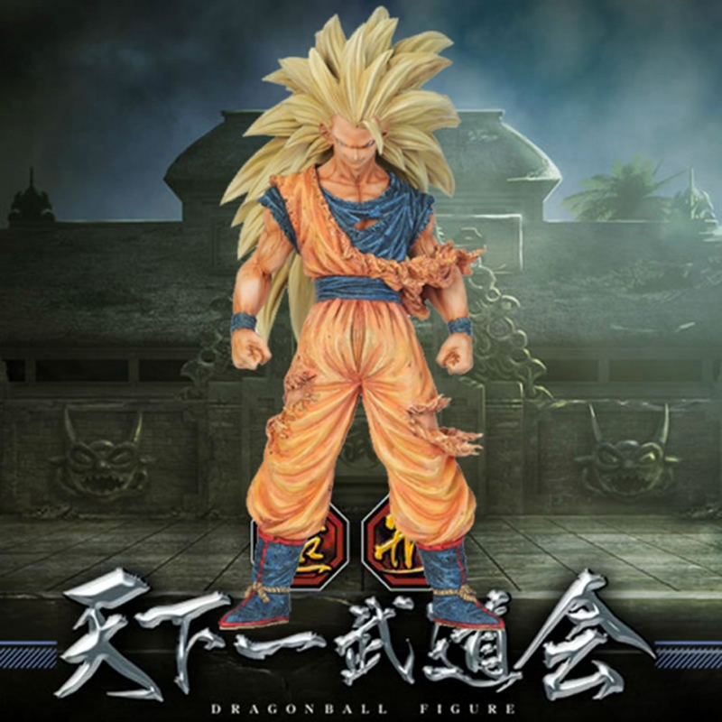 21CM Anime Dragon Ball Z Super Saiyan 3 Battle Damage Edition Son Goku Action Figure DragonballKakarotto Toys Christmas Doll Toy