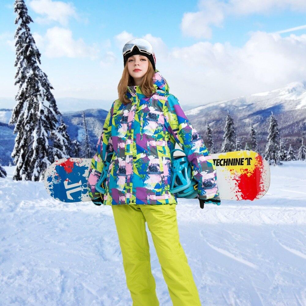 Delle Donne di inverno Tuta Da Sci Neve Giacca Pantalone Impermeabile Tuta Da Sci Donne di Snowboard Set Femminile di Inverno Delle Donne del Rivestimento del Vestito di Sport 42-52