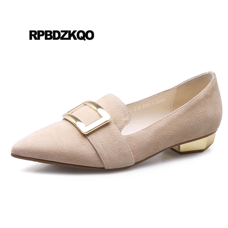 Designer Shoes China Work Slip On Black Suede Genuine Leather Women Loafers Nude Metal Comfortable Italian Pointed Toe Flats women ladies flats vintage pu leather loafers pointed toe silver metal design