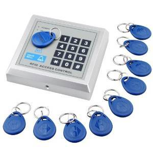 Free shipping 125KHZ EM RFID Proximity Card Access Control Keypad Card Access Control Door Opener with 10 Key Fobs