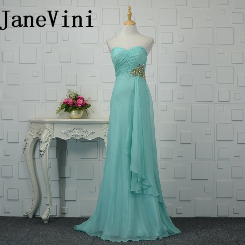 JaneVini 2018 New   Bridesmaid     Dresses   Long Sexy Sweetheart Crystal Bruidsmeisjes Jurk Women Floor Length Formal   Bridesmaid   Gowns