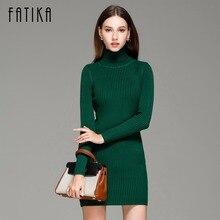 FATIKA Women's Autumn Winter Sweater Turtleneck Knitted Dress