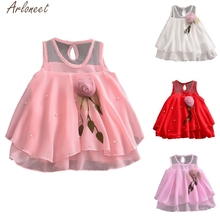 ARLONEET Toddler Baby Girls Dresses Solid Tulle Flowers dress girl girls dress 1 to 2 years Party princess costume