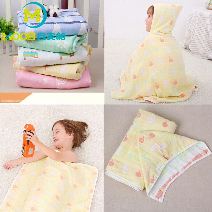 Bébé serviette mousseline coton 6 couches nouveau-né lange d'emmaillotage infantile coton couvertures bébé serviette de bain plage gant de toilette 70x110 CM MOOB