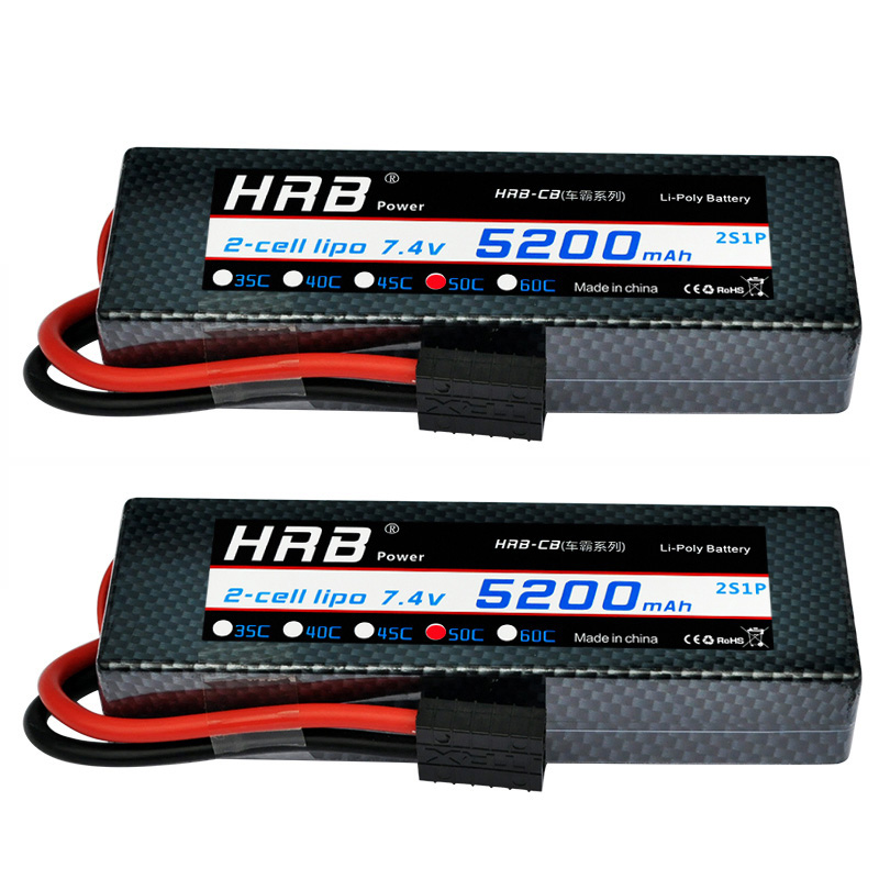 2 Units HRB 2S 7.4V 5200mah Hard Case Lipo Battery 100C 2S for RC Car Roar Airplane Helicopter SADDLE PACK