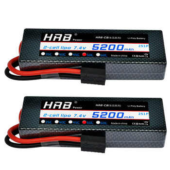 2 Units HRB 2S 7.4V 5200mah Hard Case Lipo Battery 100C 2S for RC Car Roar Airplane Helicopter SADDLE PACK - DISCOUNT ITEM  23% OFF All Category