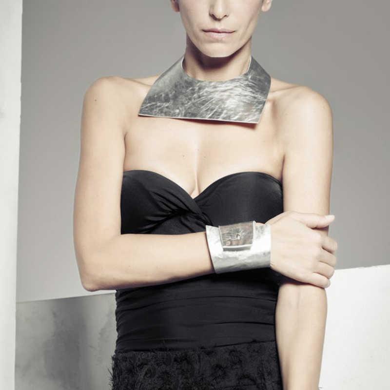 YD&YDBZ New Silver Leather Necklaces Women Choker Necklace Geometric Jewelry Punk Style Fashion Leather Jewellery Bohemia Style