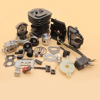 цена на 38mm Cylinder Piston Carburetor Ignition Coil Clutch Drum Oil Pump Kit For HUSQVARNA 136 137 141 142 Chainsaw Engine Motor Parts