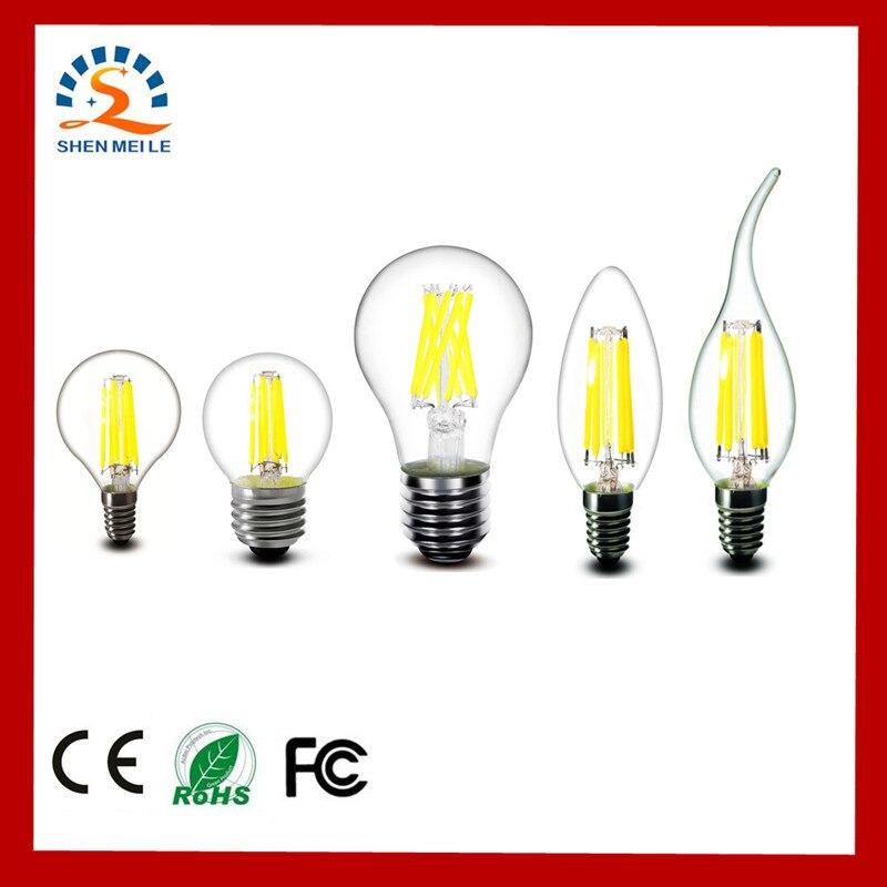 E27 E14 E12 2W 4W 6W 8W A60 A19 G45 C35 B10 Frosted Warm White Edison Retro LED Filament Bulb Lights Lamp 220V 230V 110V AC