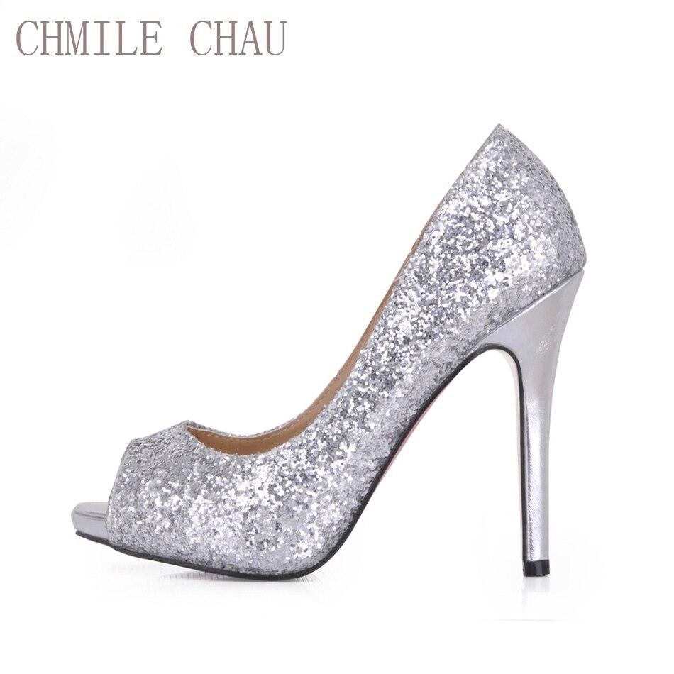 CHMILE CHAU Серебряный Блеск Сексуальная Свадьба Обувь Женщины Peep Toe Stiletto Высокие Каблуки Знакомства Свадебные Леди Насосы Zapatos Mujer T3