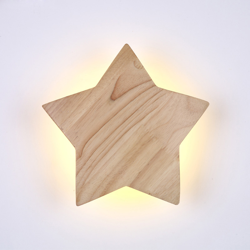 Led Wall Lamp wood Body star Wall Light For Bedroom Home Lighting Luminaire Bathroom Light Fixture Wall Sconce LED night lights цена 2017