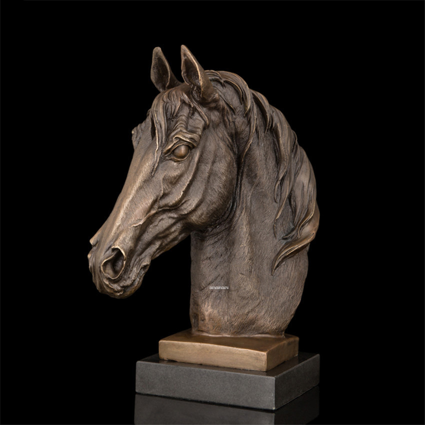 Statues de tête de cheval moderne en laiton sculpture artisanat maison bureau décoration de bureau ameublement Start Business cadeau DW-005
