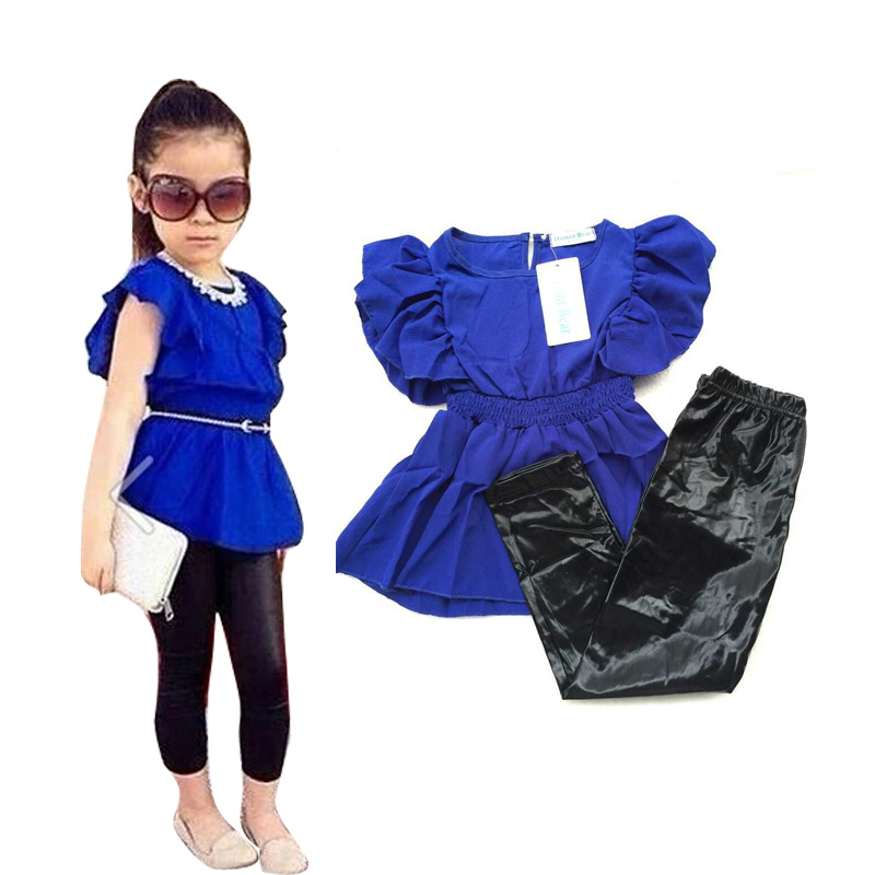 New fashion summer baby girl clothes children girls clothing sets blue shirt dress + black leggings cool baby kids 2pcs suits