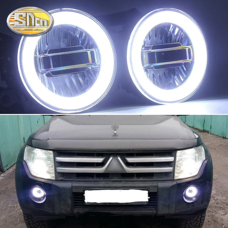 SNCN 3-IN-1 Functions Auto LED Angel Eyes Daytime Running Light Car Projector Fog Lamp For Mitsubishi Triton L200 2013 - 2018 tcart 1set car 76mm 89mm projector halo rings for mitsubishi asx 2013 2014 fog lamp auto led fog light with lens cob angel eyes