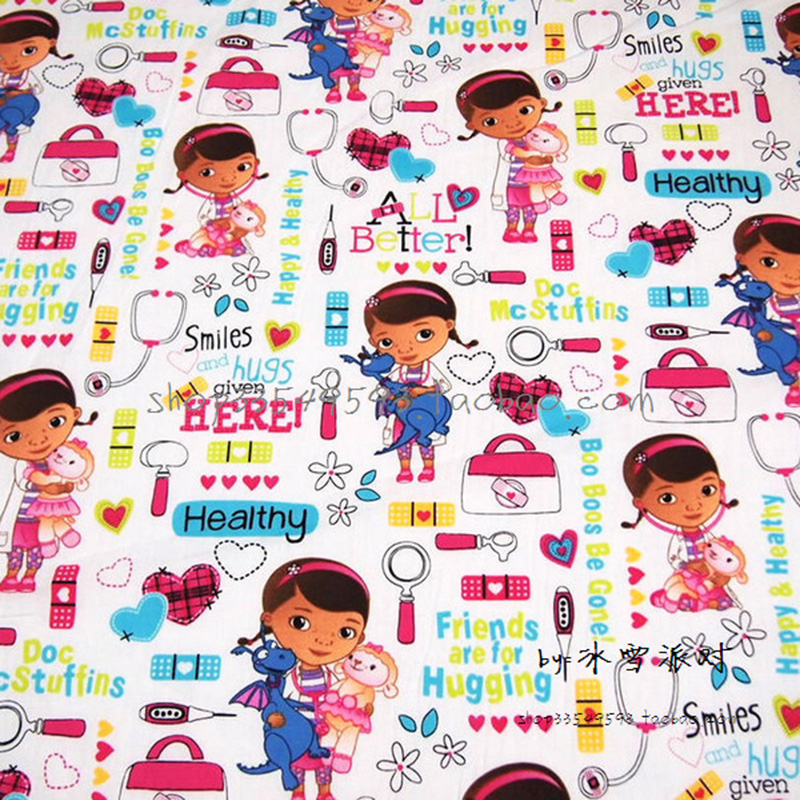 Široká 140cm Cartoon Doll 100% bavlněná látka Lékař Big Doll. Printed Fabric Patchwork šití materiálu Diy Girl Dress Fabric