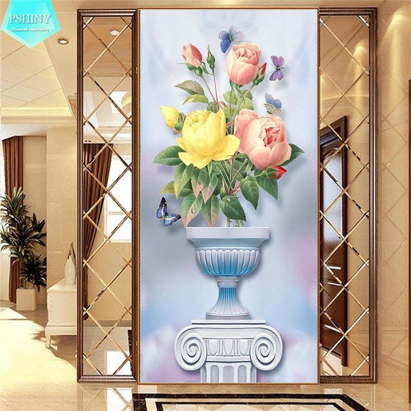 PSHINY 5D DIY diamond embroidery sale flower Full Square painting rhinestone kit new shelves