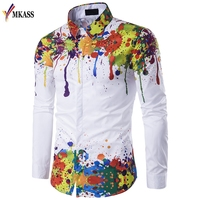 New Arrival Spring Autumn Features Shirts Men Casual 3D Shirt Long Sleeve Casual Slim Fit Male