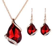 цены на 2 PC  Earrings Drop Necklace Earrings Set Waterdrop Design Rhinestone Pendant Necklace Hook Earrings Lady Jewelry Set  в интернет-магазинах